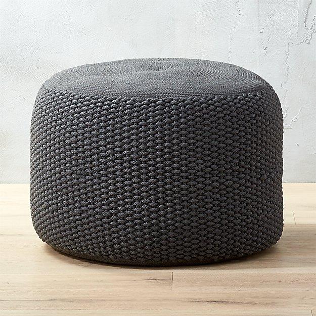 Criss Knit Grey Pouf