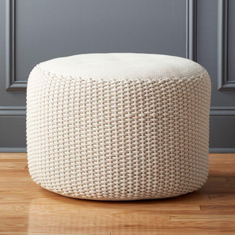 criss cream knit pouf in poufs reviews cb2. Black Bedroom Furniture Sets. Home Design Ideas