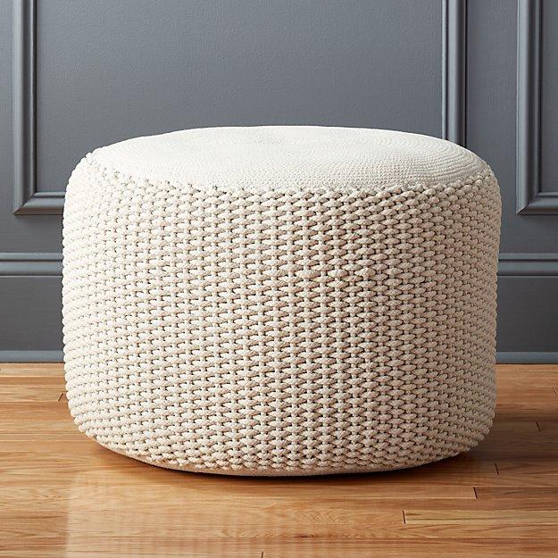 criss cream knit pouf | CB2