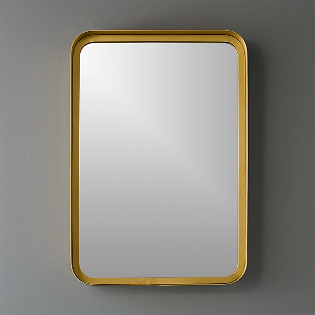 "16""x24.5"" croft brass wall mirror"