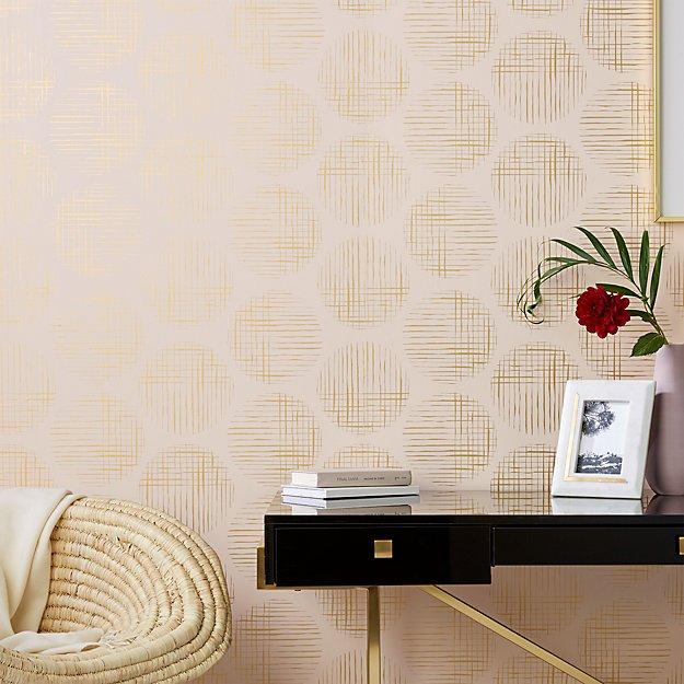 Cross Hatch Circles Gold and Blush Wallpaper