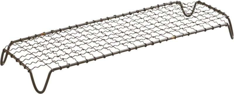 """<span class=""""copyHeader"""">wired for entertaining.</span> Iron wire pedestal gives industrial rise to platters of small bites. Create a hi/lo partyscape with crosshatch raised server tall. Perfectly sized to pair with our bento rectangular platter in black or white, and black dip platter.<br /><br /><NEWTAG/><ul><li>Handcrafted</li><li>Powdercoated iron wire frame</li><li>Wipe with damp cloth</li></ul>"""