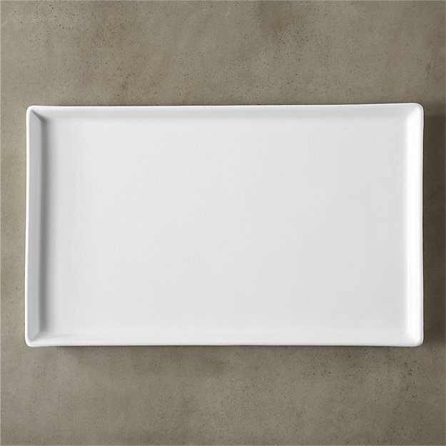 cuatro large white serving platter in serving pieces reviews cb2