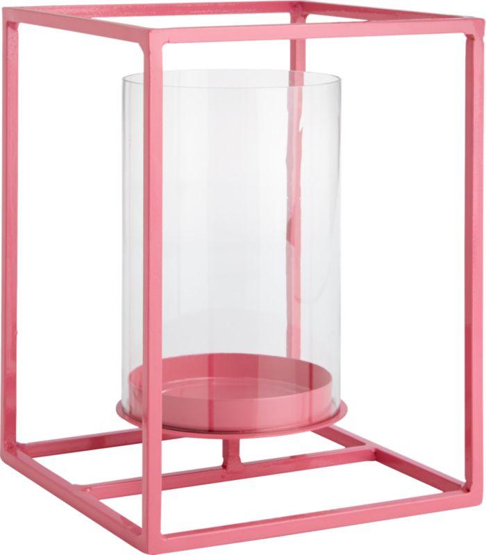 "<span class=""copyHeader"">light box.</span> Bright pink steel rod lantern pedestals a single pillar candle in an open-air design. Floating, flickering light sets the colorful frame aglow at the indoor or outdoor dining table.<br /><br /><NEWTAG/><ul><li>Mild steel rod</li><li>Epoxy finish</li><li>Glass hurricane holds 3""x6"" pillar candle</li><li>Indoor and outdoor use</li><li>Wipe clean with damp cloth</li></ul>"