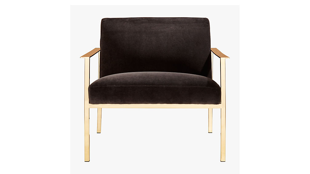 cue chair with brass legs