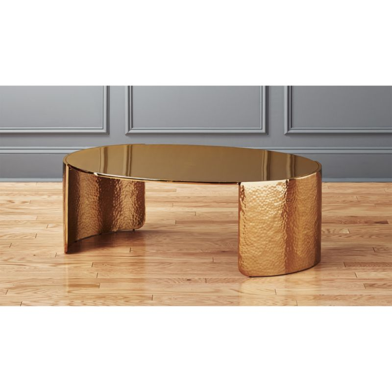 Cuff Hammered Gold Coffee Table CB2