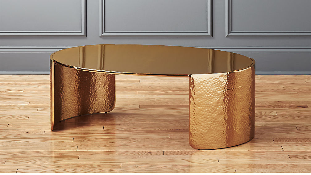 Cuff Hammered Gold Coffee Table Reviews Cb2