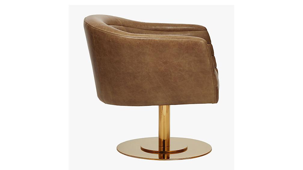 cupa cognac leather swivel base chair