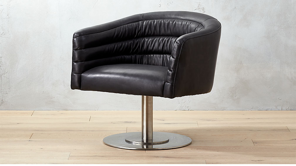 black leather oversized chair cupa black leather swivel chair cb2 11220 | CupaLthrChairBlkSHF17 16x9?$web zoom furn hero$