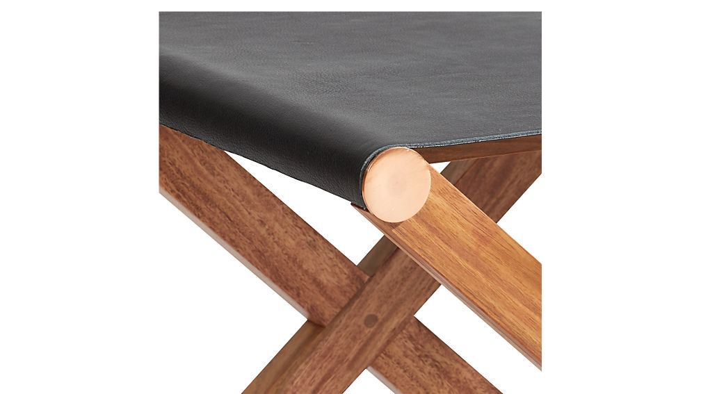 curator black leather stool-table