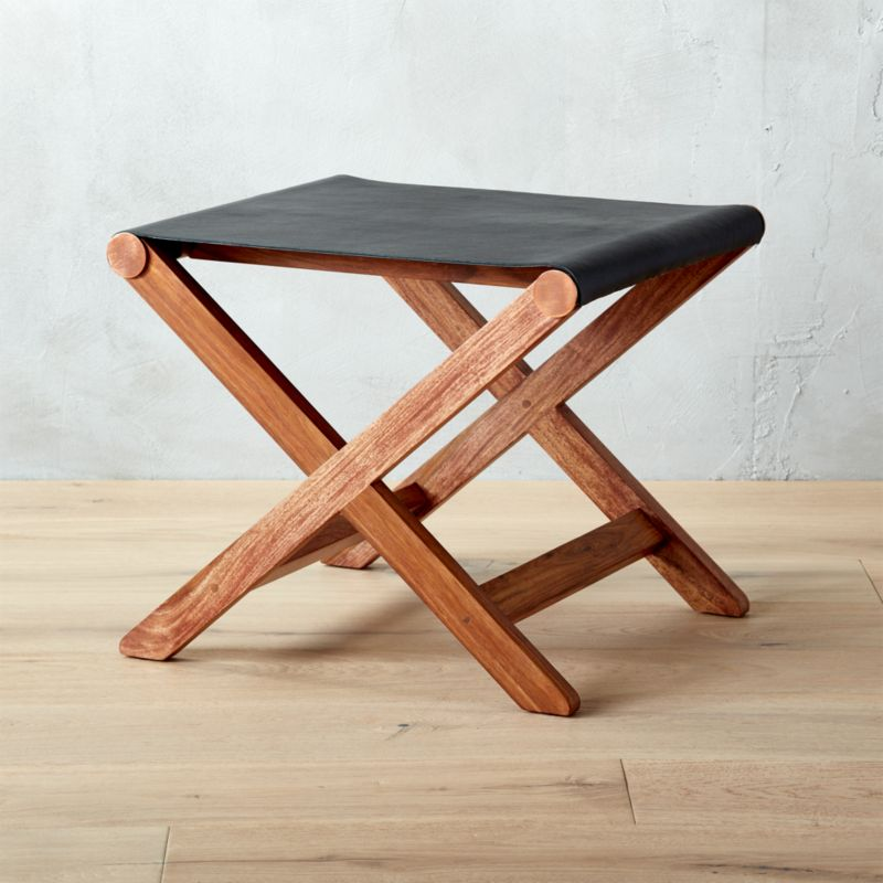 Curator Black Leather Stool Table