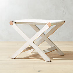 Curator White Cowhide Stool-Table