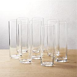 set of 8 cylinder champagne flutes