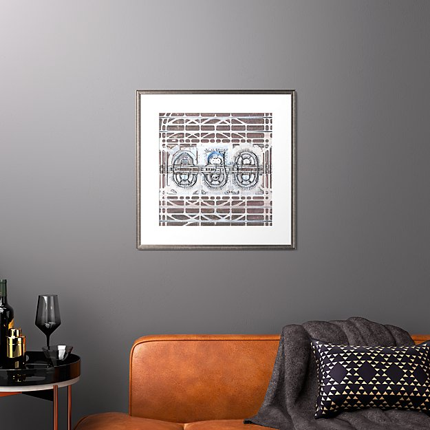 """dfw airport with pewter frame 25.5""""x25.5"""""""