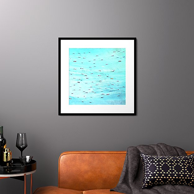 "indonesian ships with black frame 27.5""x27.5"""