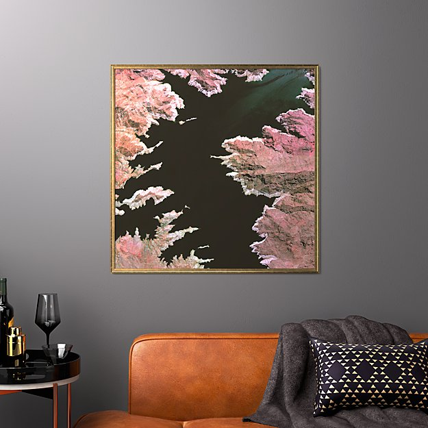 "lake mead with gold frame/no mat 33.5""x33.5"""