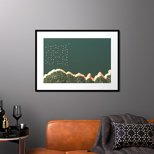 """reservoir houseboats with black frame 37.5""""x27.5"""""""