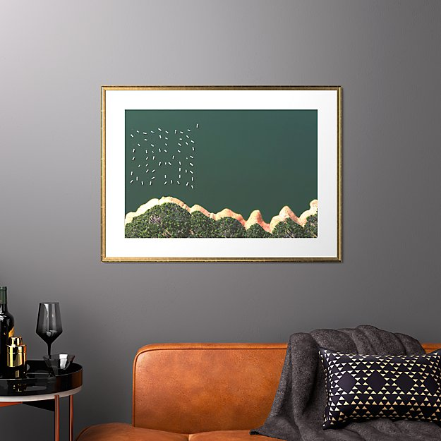 """reservoir houseboats with gold frame 37.5""""x27.5"""""""