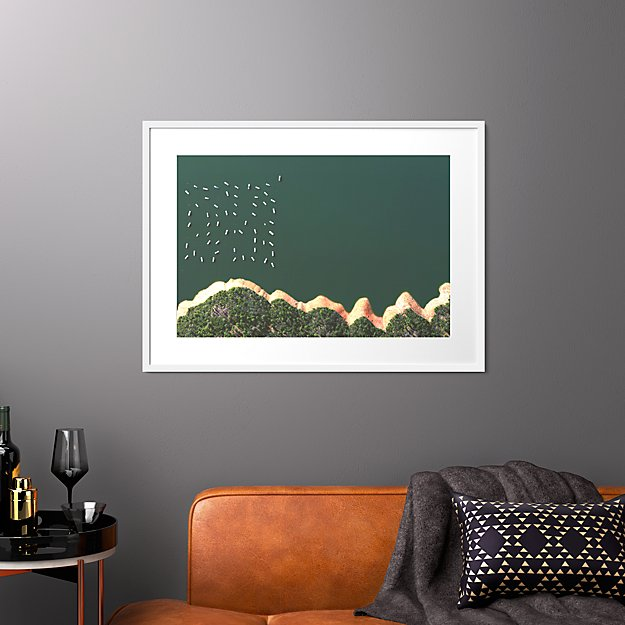 """reservoir houseboats with white frame 37.5""""x27.5"""""""