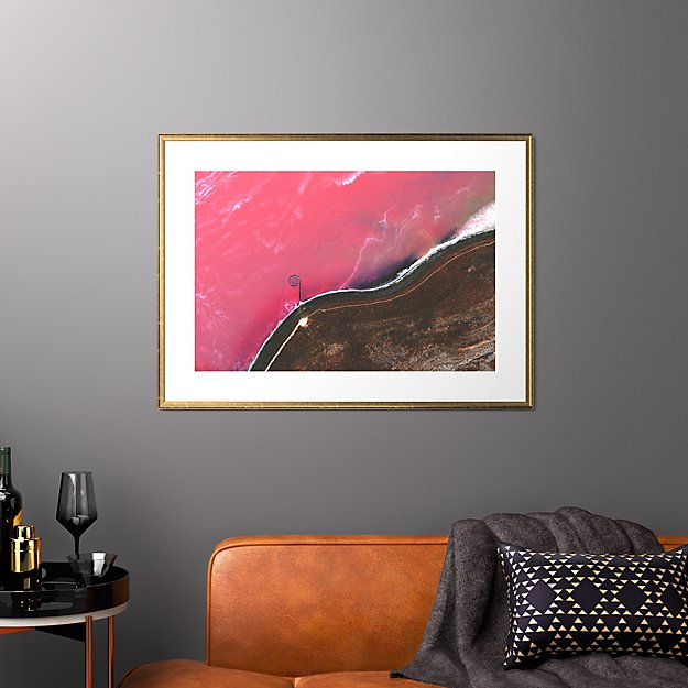 """spiral jetty with gold frame 37.5""""x27.5"""""""