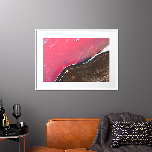 "spiral jetty with white frame 37.5""x27.5"""