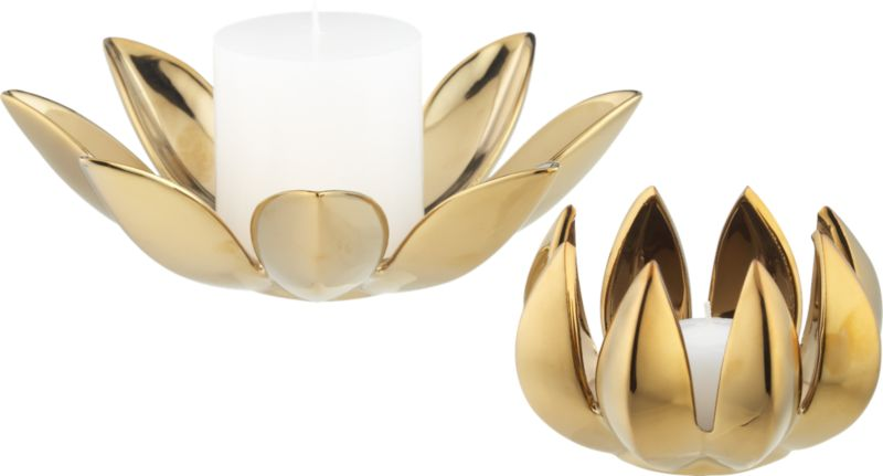 2-piece dahlia pillar-tea light candle holder set