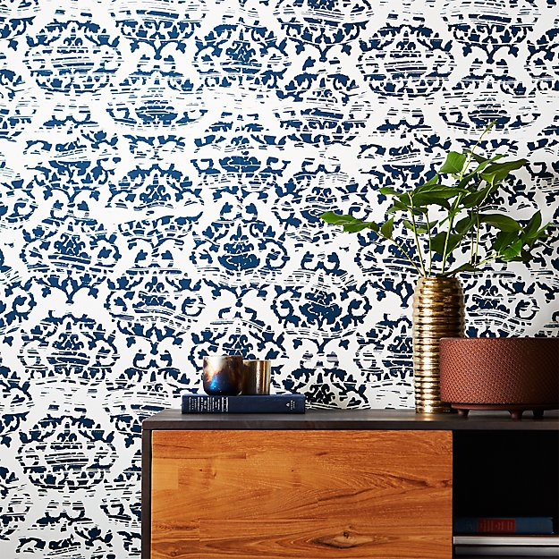 Damask Wall Paper damask white and navy wallpaper | cb2