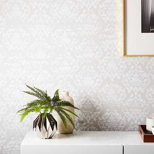 damask white and light grey wallpaper