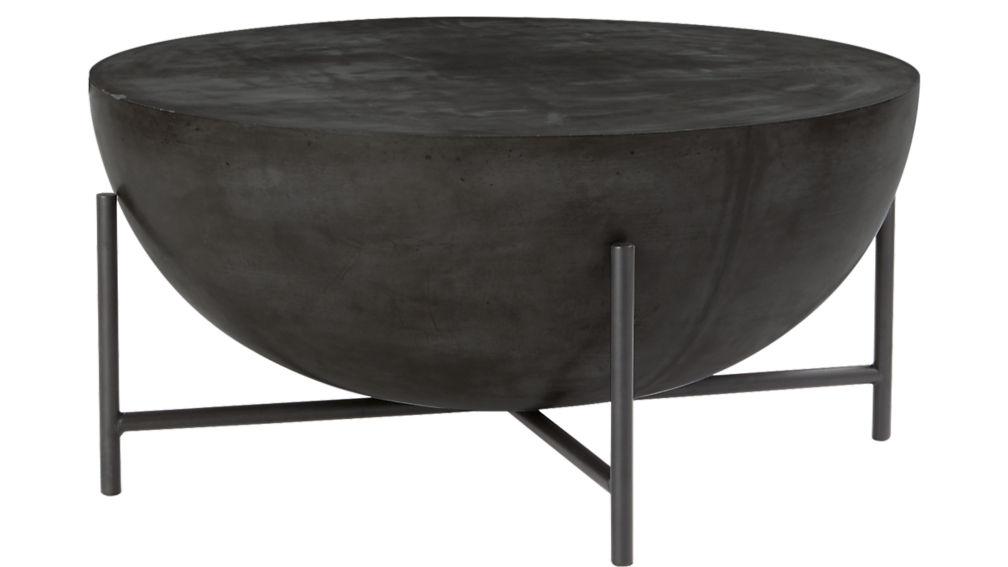 Darbuka black coffee table cb2 for Concrete drum coffee table