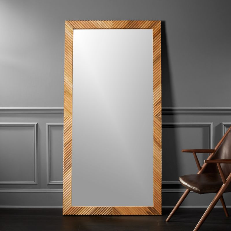 Darron wood floor mirror 36 x72 in floor mirrors for Large stand up mirror