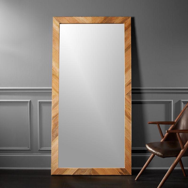 Darron wood floor mirror 36 x72 in floor mirrors for Big stand up mirror
