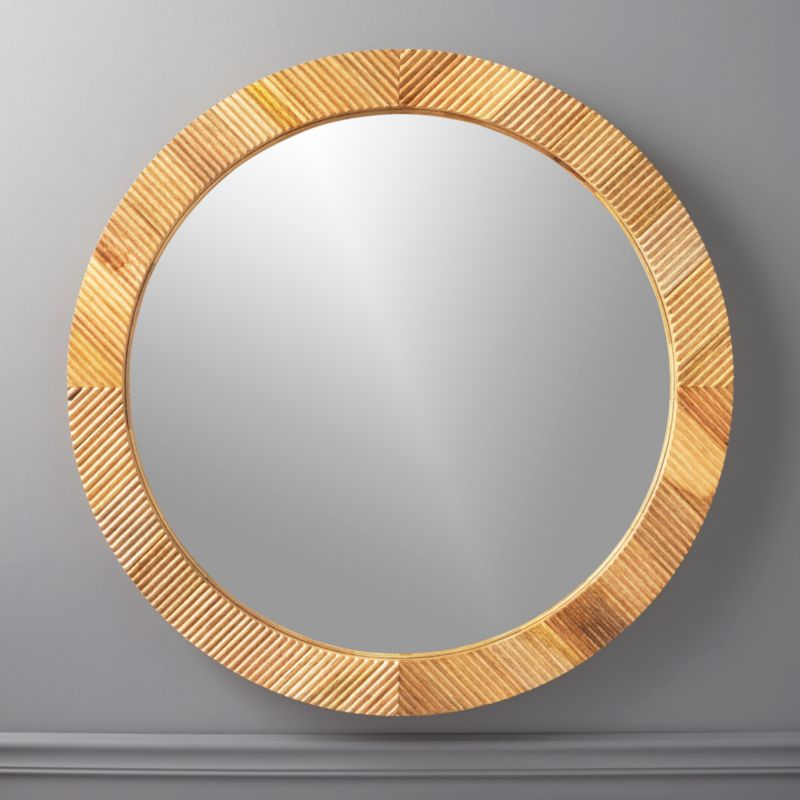 Darron round wood mirror 40 reviews cb2 for Gold stand up mirror