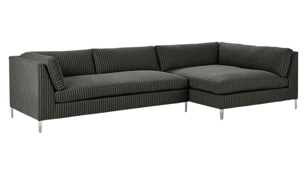 Decker 2 piece pinstripe sectional sofa cb2 for Decker 2 piece sectional sofa