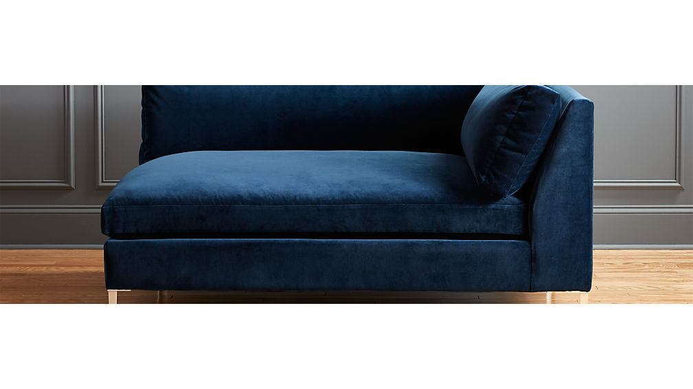 Decker left arm blue velvet chaise cb2 for Blue velvet chaise