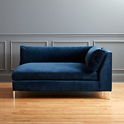 Decker Left Arm Blue Velvet Chaise