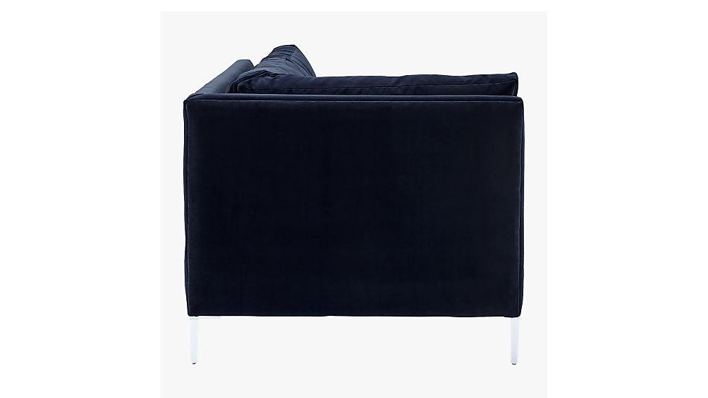 Decker Left Arm Blue Velvet Sofa