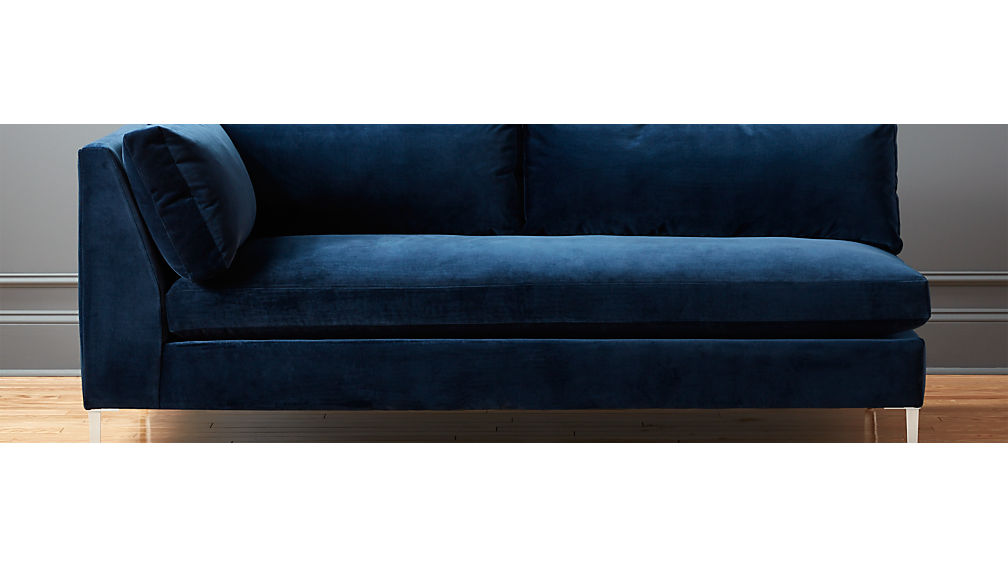Decker Left Arm Blue Velvet Sofa Cb2