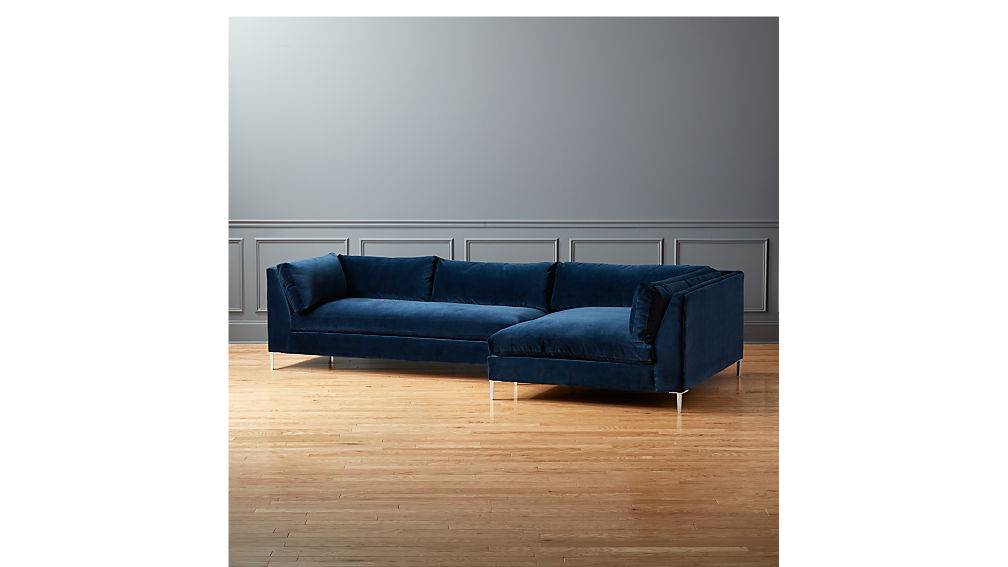 Decker Left Arm Blue Velvet Sofa Reviews Cb2
