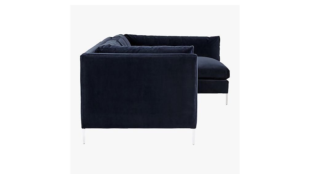 Decker 2-Piece Blue Velvet Sectional Sofa