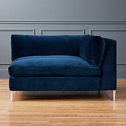 Decker Right Arm Blue Velvet Chaise