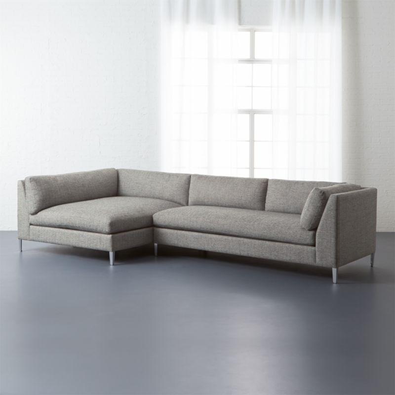 Decker 2 piece sectional sofa lexi salt and pepper cb2 for Decker 2 piece sectional sofa