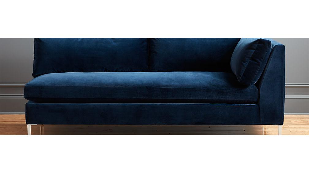 Decker Right Arm Blue Velvet Sofa In Sofas Reviews Cb2