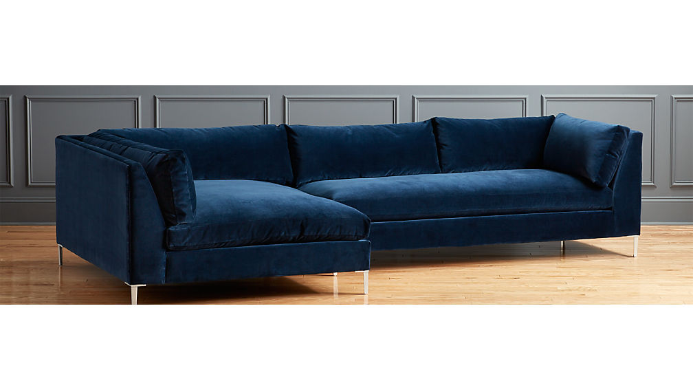 Decker 2 piece blue velvet sectional sofa cb2 for 2 piece red sectional sofa