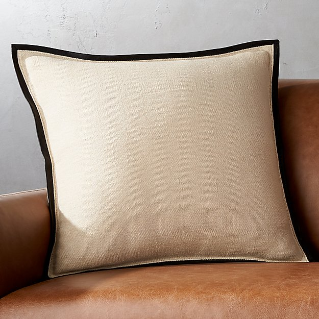 "20"" Delaney Beige Linen Pillow with Feather-Down Insert."