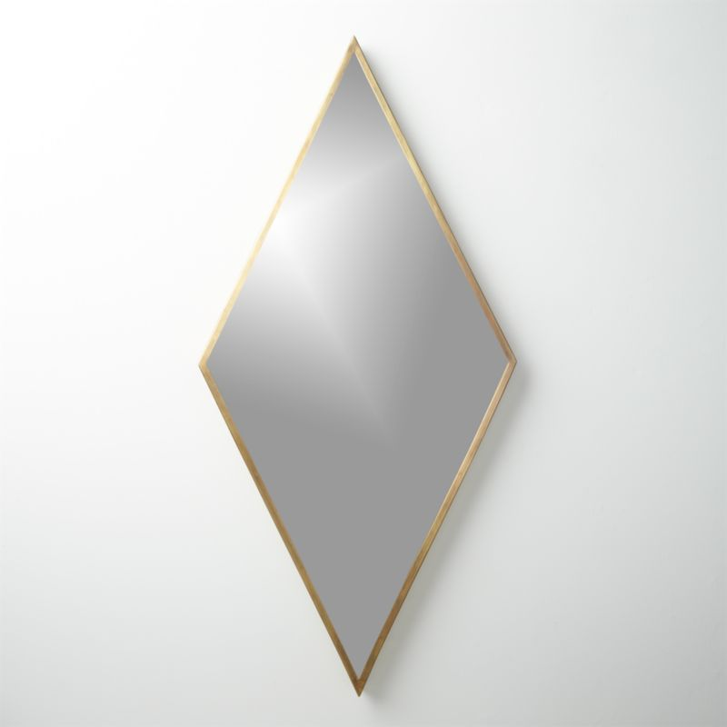 diamond brass 21.75u0026quot;x45u0026quot; wall mirror : CB2