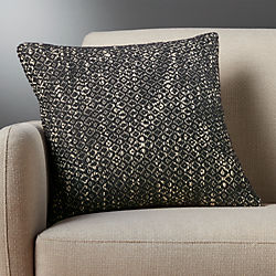 "18"" diamond weave dark grey pillow"