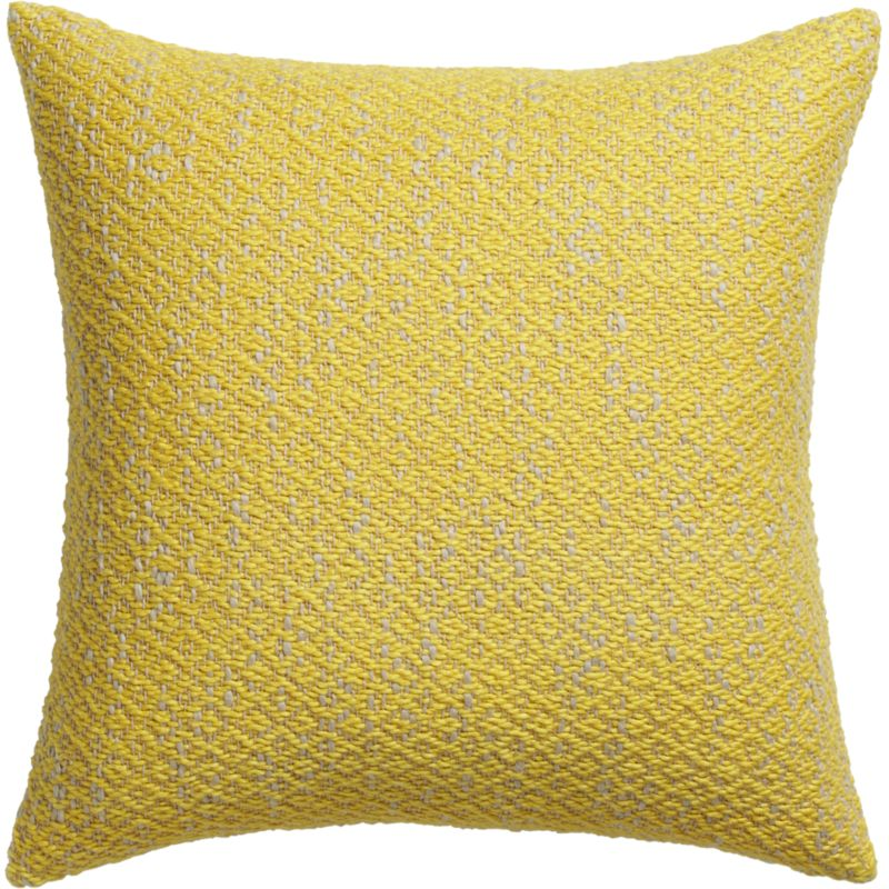 """diamond weave yellow 18"""" pillow with feather-down insert"""
