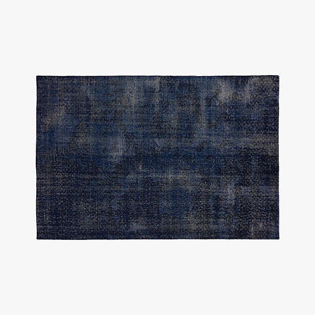 The Hill-Side Disintegrated Floral Blue Rug 6'x9'