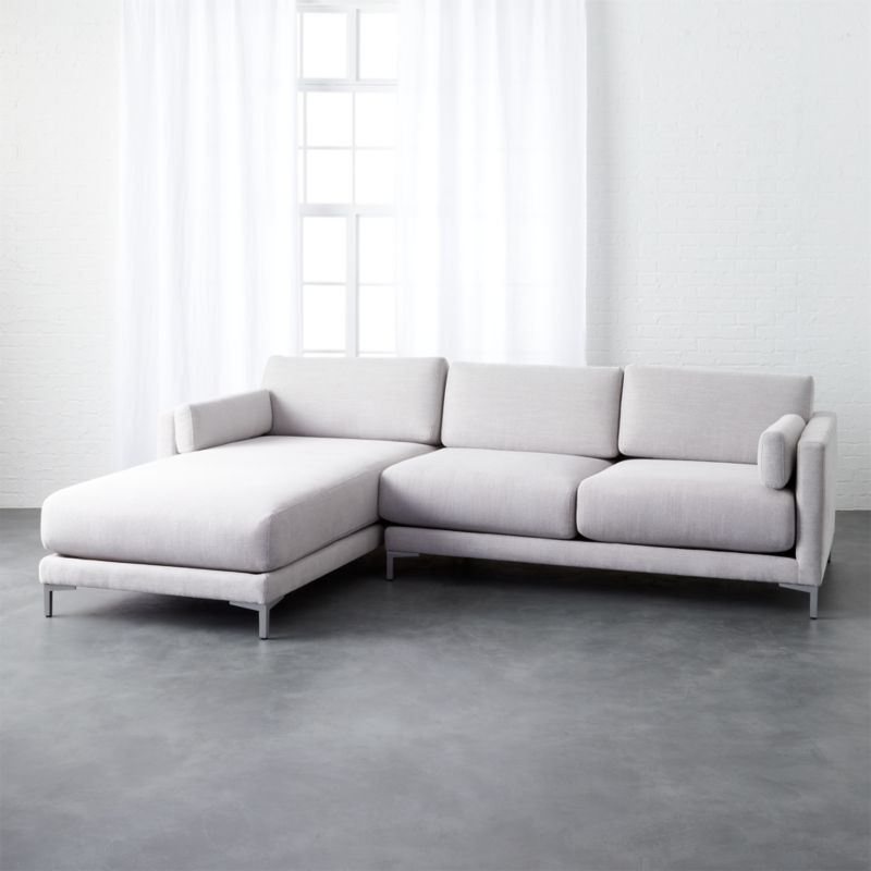 District dove 2 piece sectional sofa finley dove cb2 for Dove grey sectional sofa