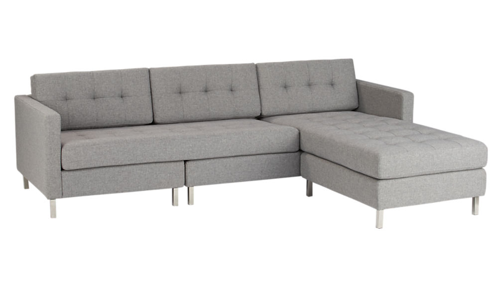 Grey Sectional Couches ditto ii button tufted sectional sofa | cb2